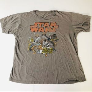 Men's Star Wars Gray Crewneck TShirt Retro Graphic